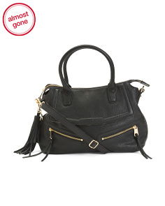 Leather Diagonal Zip Satchel
