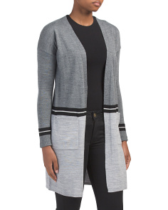 Merino Wool Striped Color Block Duster