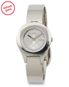 Women's Swiss Made Logo Dial Bangle Watch