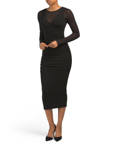 Made In Usa Ruched Midi Dress