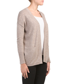 Cardigan With Slit Pockets And Ribbed Cuffs