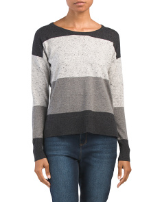 Flecked Yarn Color Block Pullover Sweater
