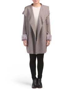 Drape Neck Duster With Faux Fur Cuffs
