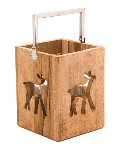 10x8in Reindeer Cutout Wooden Lantern