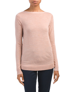 Merino Wool Boat Neck Pullover Sweater
