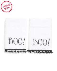 Set Of 2 Cob Web Boo Bath Hand Towels