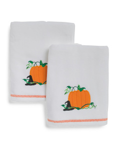 Set Of 2 Pumpkin Patch Hand Towels