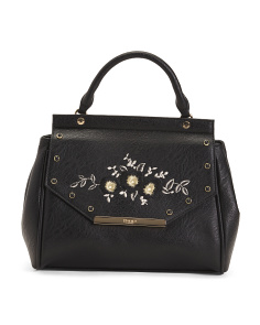 Floral Embroidered Satchel
