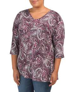 Plus Paisley V Neck Top