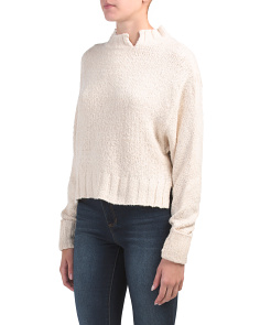 Juniors Mock Neck Slub Sweater