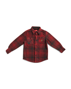 Big Boys Sherpa Bonded Fleece Plaid Shirt Jacket
