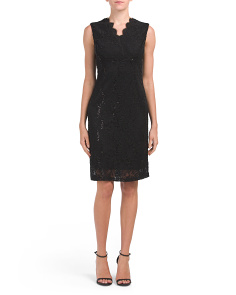 Petite Myra Sequin Lace Sheath Dress