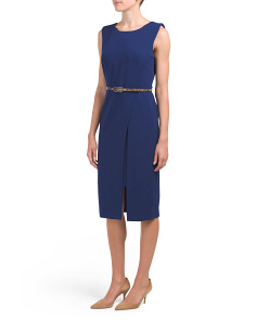 Belted Midi Crepe Dress