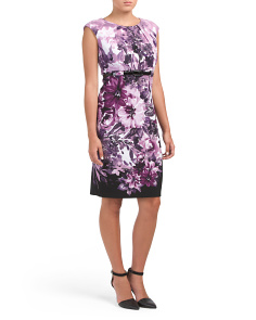 Floral Ottoman Dress With Belt