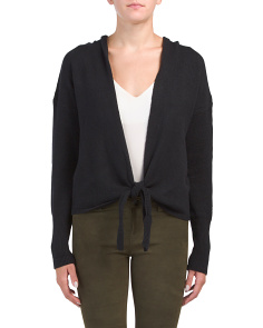 Juniors Hooded Tie Front Cardigan