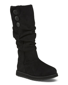 High Shaft 3 Button Faux Shearling Boots