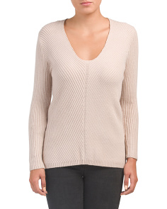 Juniors V-neck Miter Detail Sweater