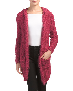 Juniors Feather Open Cardigan With Hood