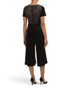 Lace Back Velvet Jumpsuit