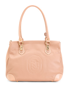 Made In Italy Monogram Leather Satchel