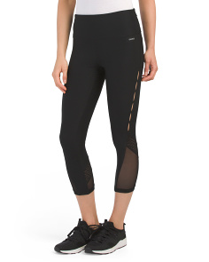 High Waist Capris With Mesh Panels