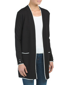 Tipped Duster Cardigan With Pockets