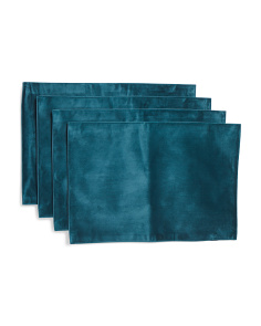 Dusty Teal Velvet Placemats Set Of 4