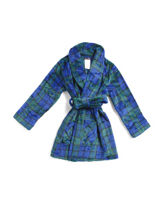 Boys Watch Plaid Velvet Fleece Robe