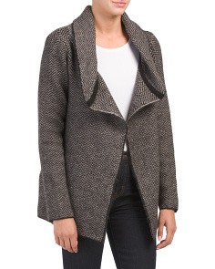 Shawl Collar Herringbone Sweater Jacket