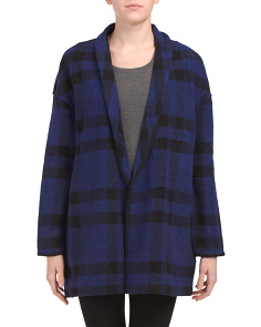 Buffalo Plaid Shawl Collar Open Coat