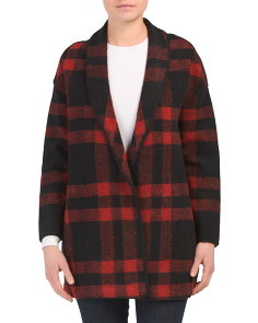 Wool Blend Buffalo Plaid Open Coat