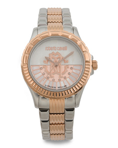 Women's Swiss Made Two Tone Logo Dial Bracelet Watch