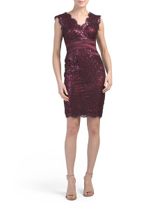 Petite V-neck Eyelash Lace Sheath Dress