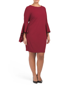 Plus  Extreme Bell Sleeve Short Crepe Dress
