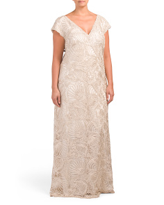 Plus Cap Sleeve Floral Lace Gown