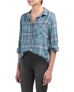 Pocket Plaid Button Down Top