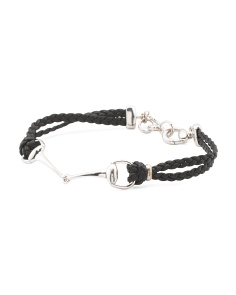 Made In Italy Sterling Silver Leather Horsebit Bracelet