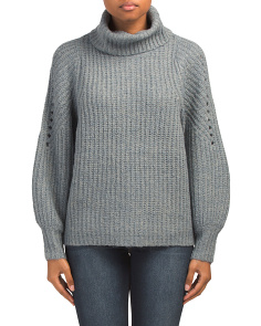 All Over Ribbed Cowl Neck Sweater