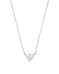 Made In Italy 18k White Gold And Diamond Tm Heart Necklace