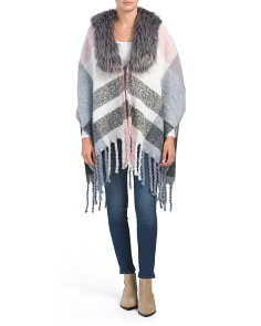 Fringed Ruana With Faux Fur Collar