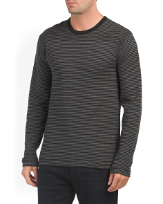 Double Face Striped Crew Neck Top