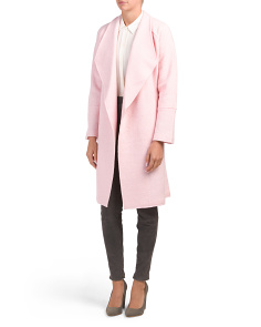 Wool Seamed Long Coat With Raw Edging