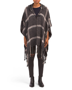 Plaid Printed And Hooded Wrap