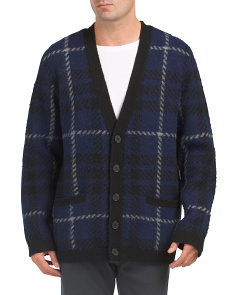 Oversized Checked Wool Blend Cardigan