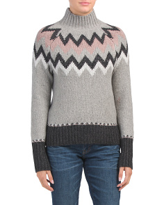 Fair Isle Pattern Mock Neck Sweaters