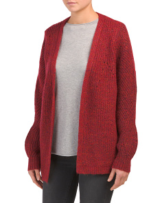 Textured Balloon Sleeve Open Cardigan
