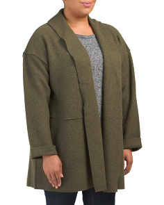 Plus Wool Textured Coat With Seams