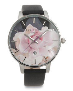Women's Rose Dial Leather Strap Watch