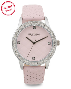 Women's Crystal Accented Leather Strap Watch