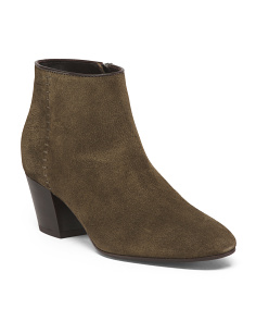 Made In Italy Waterproof Back Zip Suede Booties